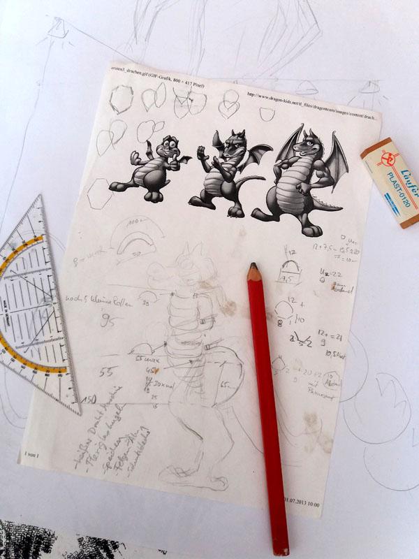 Skizze, Stelzen Walkact, Drache, Dinosaurier, Zeus Stelzentheater